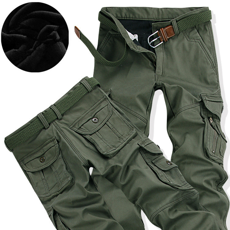 Men's Cargo Pants Winter Thick Warm Pant Full Length Multi Pocket Casual Military Baggy Jogger Tactical Trousers Plus Size 28-40