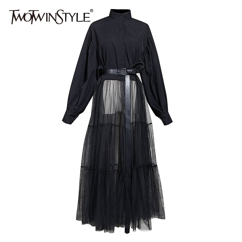 TWOTWINSTYLE Patchwork Mesh Women Dress Stand Collar Lantern Long Sleeve High Waist With Sashes Dresses Female Fashion Clothing