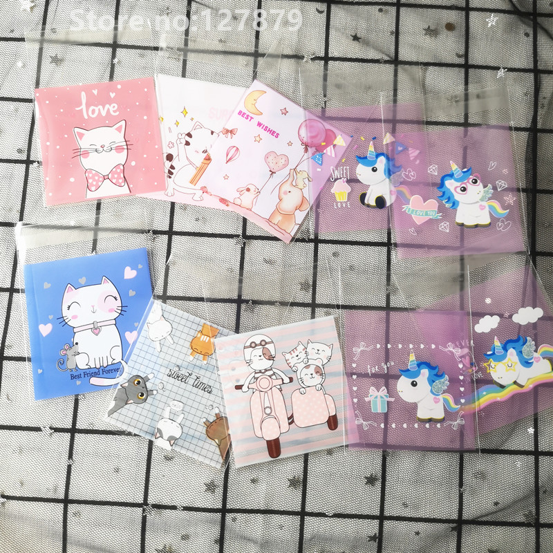 100pcs Cute Cartoon Gifts Wrapping Bags Cookie Candies Packaging Self-adhesive Plastic Bags Wedding Favors Biscuits Package Bag
