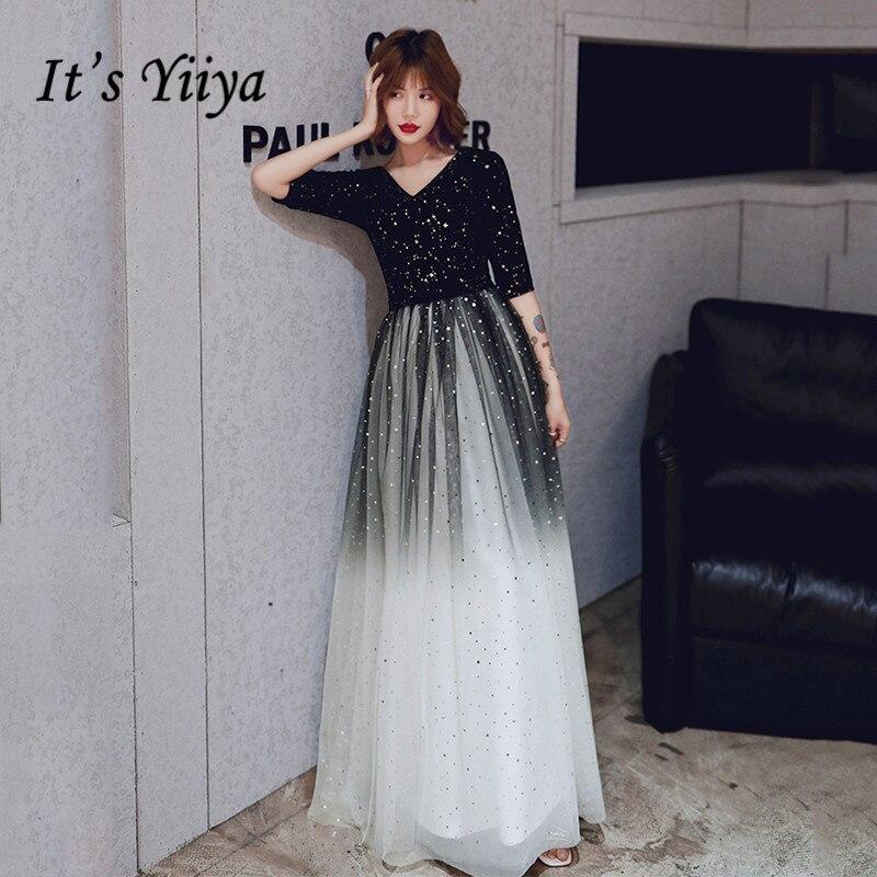 A-Line Evening Gown It's Yiiya K282 Crepe Floor-Length Sequined Evening Dress 2020 Plus Size V-Neck Half Sleeve Robe De Soiree