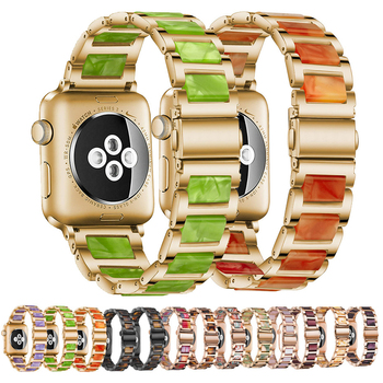 for watchband apple watch 42 mm 38 mm 44mm 40mm 4 3 2 1 band iwatch strap 316l link stainless steel link bracelet wrist belt Resin Strap Steel Watchband for apple watch band 42 mm 40mm 44mm 38 iWatch Series 6 5 4 3 2 Wrist Replacement Bracelet Accessori