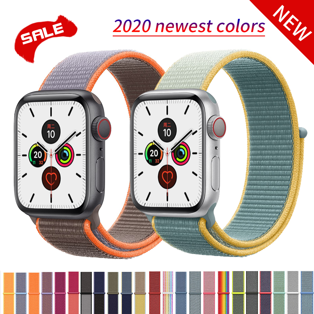 Nylon Loop Pulseira For Apple Watch Strap 40mm 44mm For Iwatch 3 Band 38mm 42mm Breathable Replacement Wristband Series 5 4 2 1