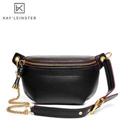 100% Genuine Leather Women Waist Bags Luxury Famous Brand Shoulder Bag Chain Belt Crossbody Female Bag Bolsa Feminina