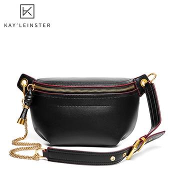 цена на 100% Genuine Leather Women Waist Bags Luxury Famous Brand Shoulder Bag Chain Belt Crossbody Female Bag Bolsa Feminina