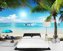 beibehang Customized stylish wallpaper coast scenery large living room sofa background papel de parede wall papers home decor