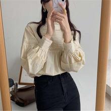 2020 Новое поступление Корейская шикарная блузка рубашка стоячий