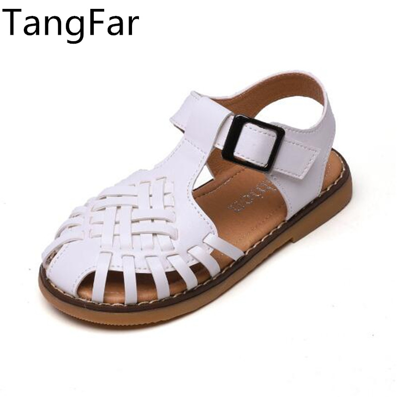 Child White Leather Roman Sandals Leather Hollow Out Soft Sole Beach Shoes For Kids Fashion Green Girls Dancing Shoe