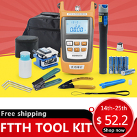 Fiber Optic FTTH Tool Kit with FC 6S Fiber Cleaver and Optical Power Meter 5km Visual Fault Locator 1mw Wire stripper