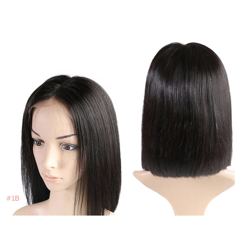 Brazilian Remy Hair Part Lace Wigs 130% Density Middle Part #1B #613 #1B/99J Short Human Hair Lace Wigs