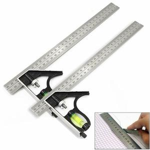 300Mm Adjustable Engineers Combination Square Angle Ruler 45/90 Degree With Bubble Level Multifunctional Gauge Measuring Tools