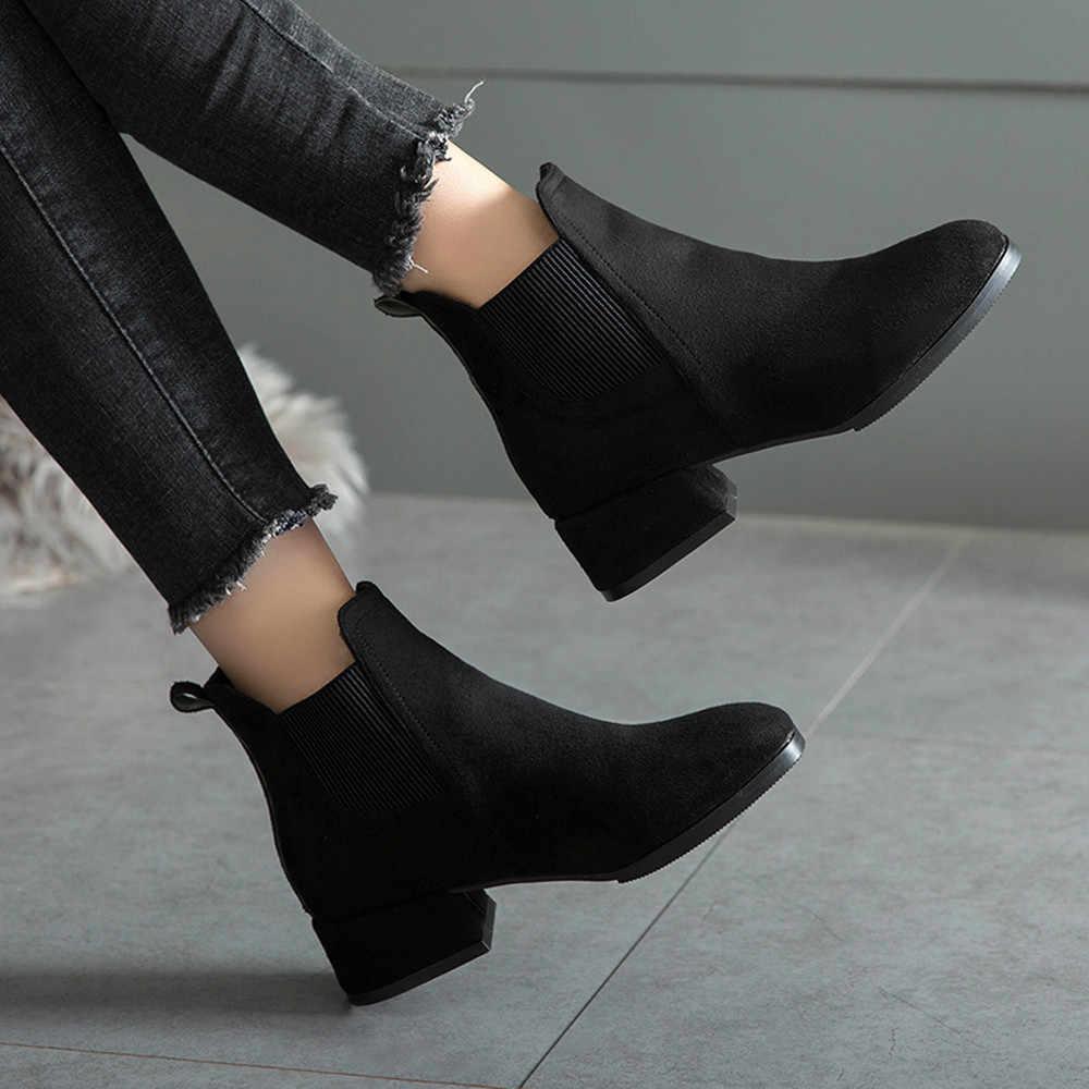 Sonbahar Kış Çizmeler kadın Deve Siyah yarım çizmeler Kadınlar Için Kalın Topuk Bayanlar Üzerinde Kayma Ayakkabı Botları Bota Feminina 35- 41