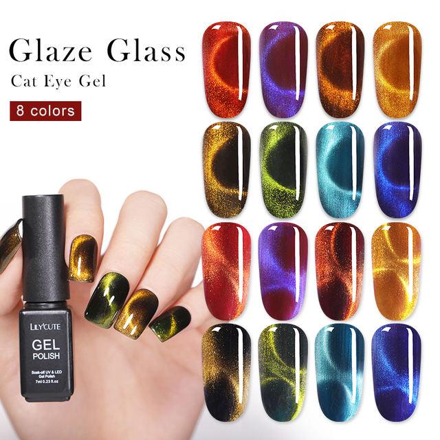 LILYCUTE 7ml 9D Chameleon Glaze Glass Cat Eye Gel