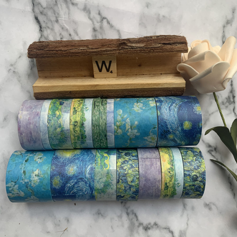 8Pcs/Set Vintage Van Gogh Impression Series Dream Star Sea Decoration Washi Tape DIY Planner Scrapbooking Masking Tape Escolar