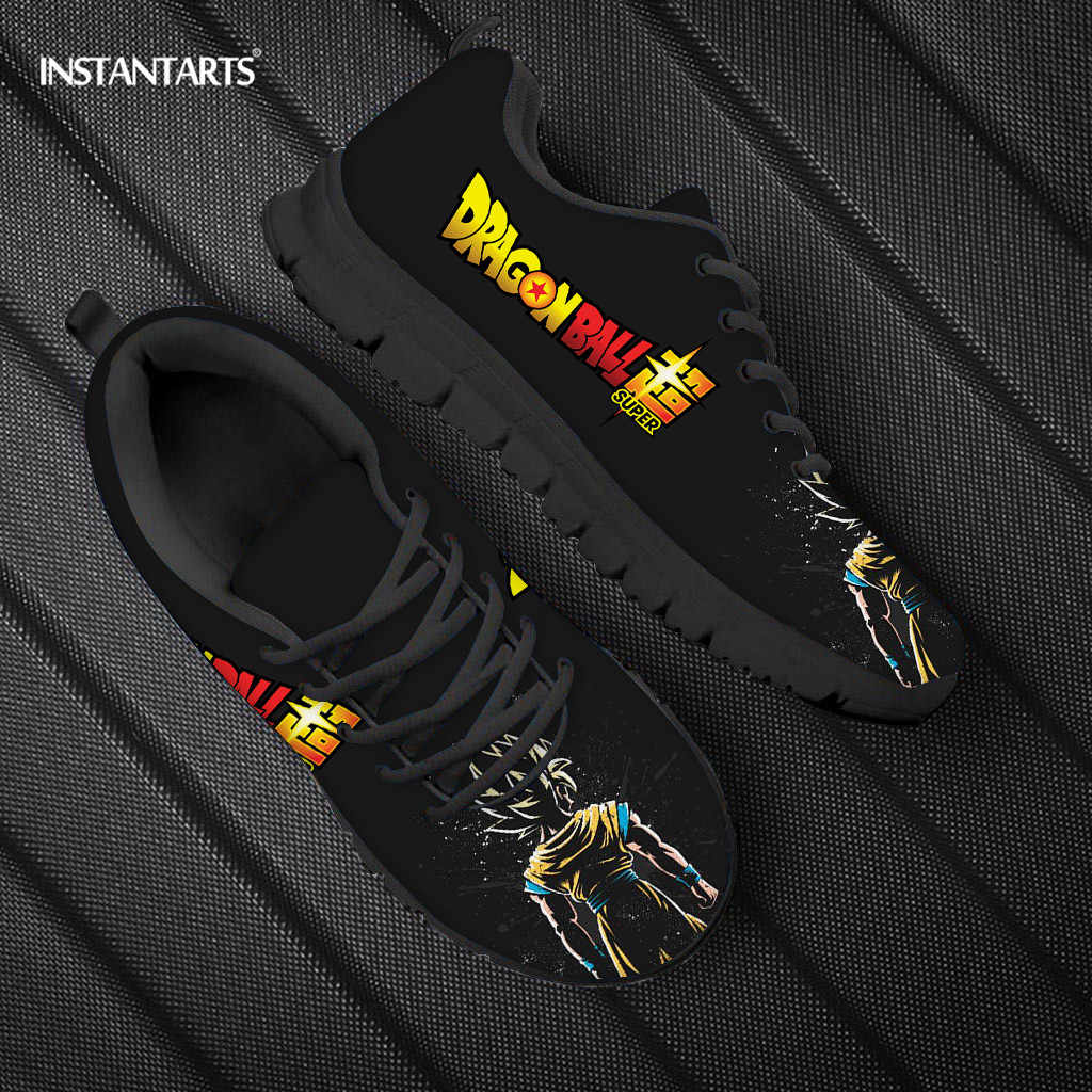 INSTANTART Dragon Ball Z Anime 남성 신발 레이스 업 운동화 소년 브랜드 디자이너 Super Saiyan Fashion Sneaker for Men