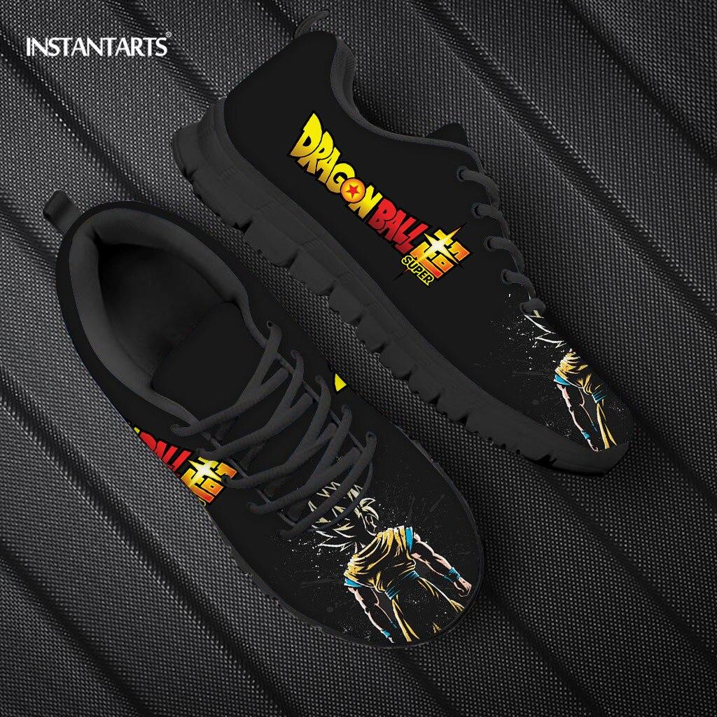 INSTANTART Dragon Ball Z Anime Men's Shoes Lace Up Walking Sneakers Boys Brand Designer Super Saiyan Fashion Sneaker For Men