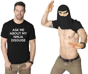 ASK ME ABOUT MY NINJA DISGUISE Men Kid Women Girl Casual Short Sleeve  Tee Top Soft Trendy Funny Graphics Hipster T-Shirt недорого