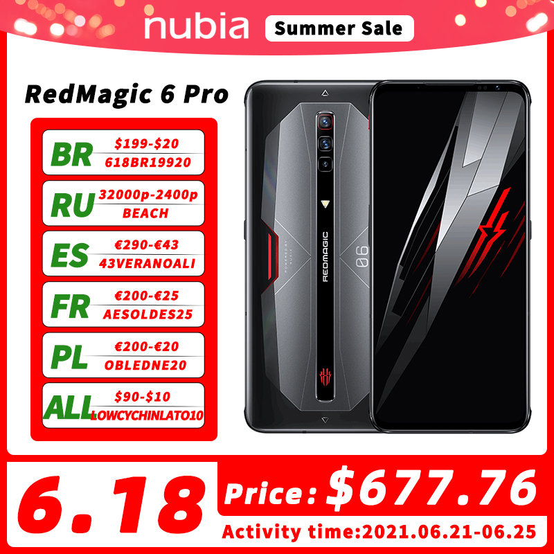 DHL Free Global Version Nubia Red Magic 6 Pro Gaming Smartphone 6.8'' AMOLED Snapdragon 888 Octa Core 64MP Camera RedMagic 6 Pro
