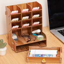 Pen holder creative female fashion  primary school students desk desktop multifunctional oblique stationery receiving box wood