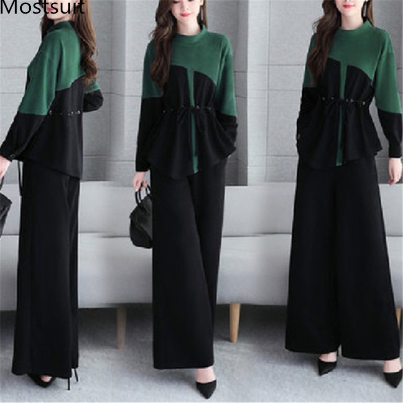 2019 Autumn Elegant Two Piece Sets Outfits Women Plus Size Drawstring Tunics Tops And Wide Leg Pants Office Fashion Sets Green