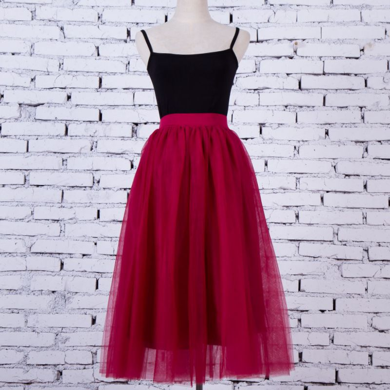 80 Cm Sweet Princess Tutu Tulle Skirt For Women Elastic Faldas High Waist Midi Mid-Caft Mesh Yarn Skirts Saia Jupe