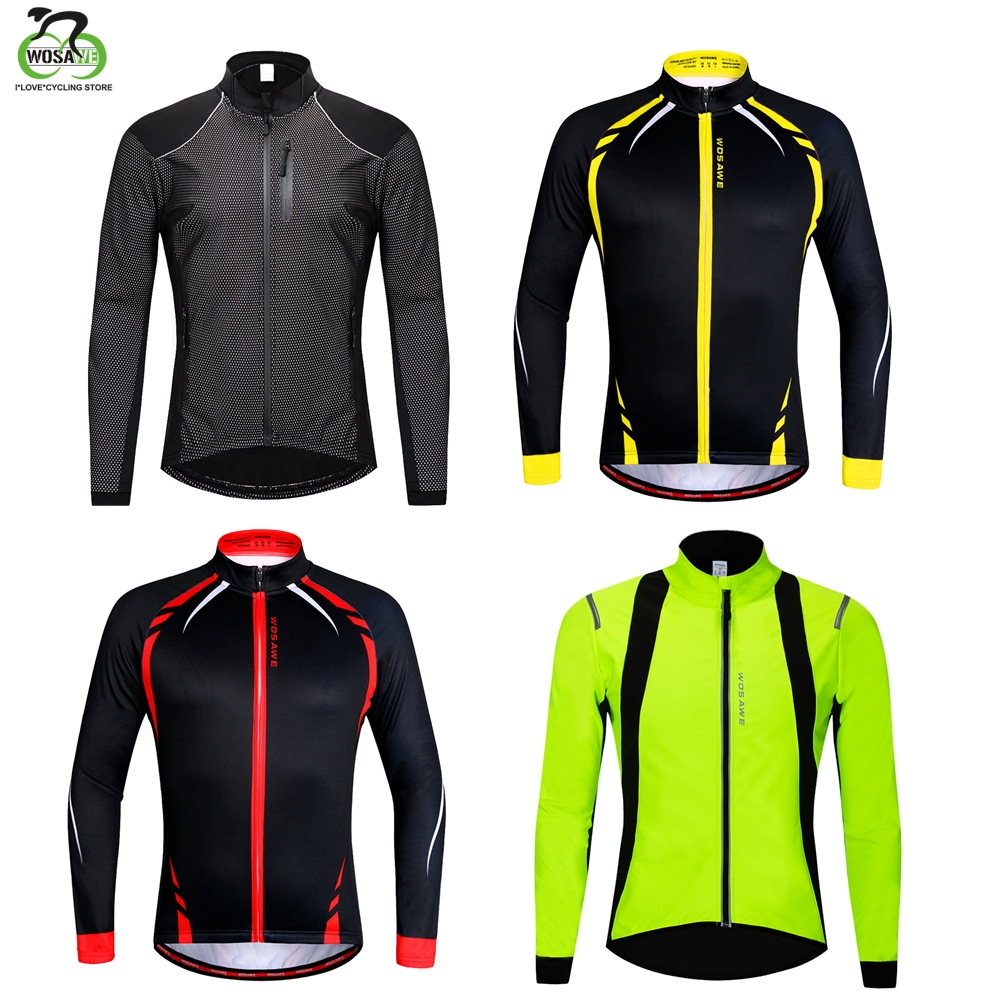 WOSAWE Thermal Fleece Cycling Jacket Men Winter Windproof Reflective Running Jersey MTB Bicycle ciclismo Jersey Bike Clothing