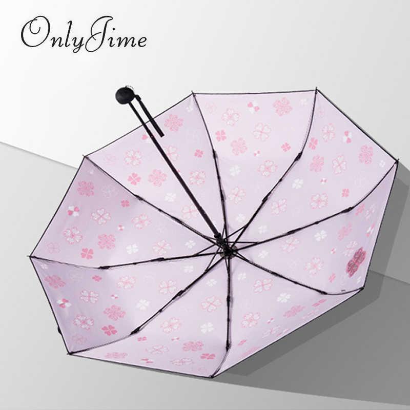 Seulement Jime quatre feuilles herbe Graffiti parapluie protection solaire noir revêtement parapluies épaississement trois fois Anti-UV double usage parapluie