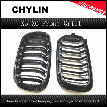 2 Piece F16 X6 F15 X5 Auto Car Front Bumper Mesh Grill Grille for BMW X5 X6 2014-2016 M Style image