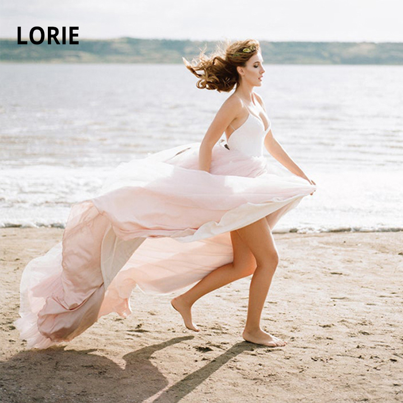 LORIE  2019 Simple Spaghetti Strap Beach Pink Wedding Dresses Lace Appliqued With Soft Tulle Boho Bridal Gowns A-line Bride Dres