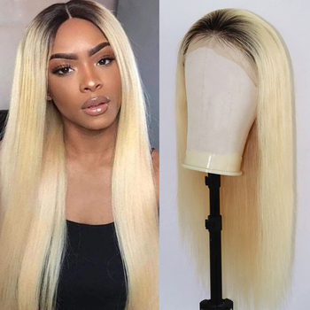 DLME 613 Blonde ombre Synthetic 13*4 Lace Frontal Wigs Cosplay Wig Heat Resistant Hiber Long Straight Wig With Nature Headline image
