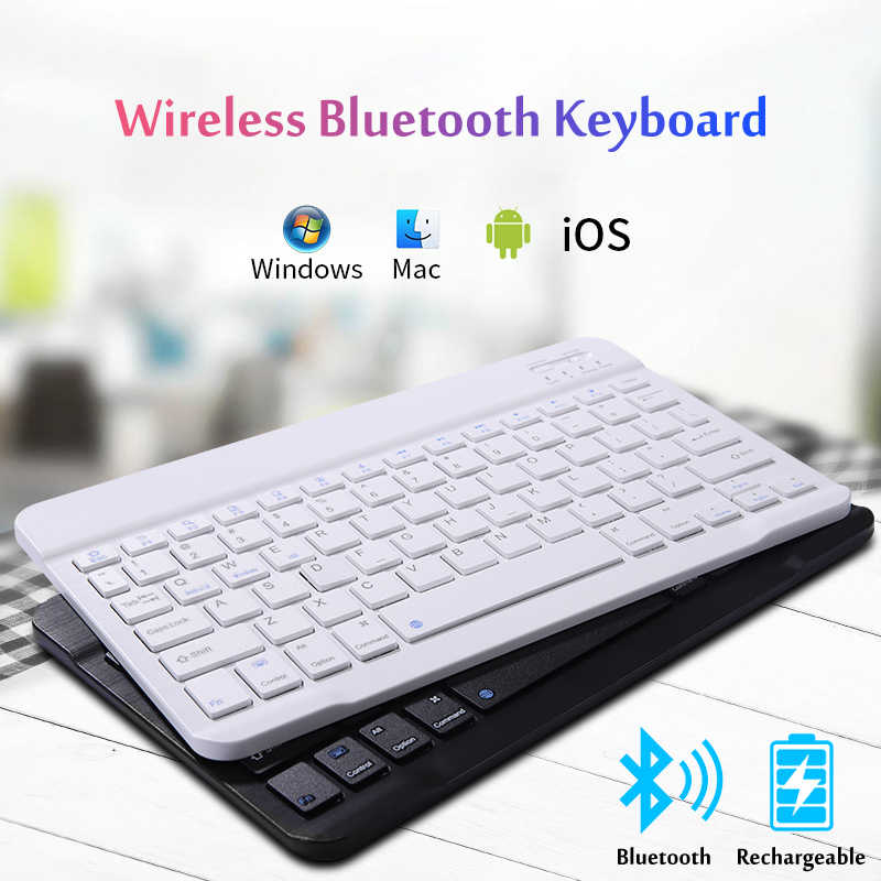 Android and ios(Black) Ultra Slim Rechargeable Mini Portable Keyboard in 7 Inch Windows Universal Bluetooth Keyboards for Tablet ipad Laptop Bluetooth Wireless Keyboard Computer