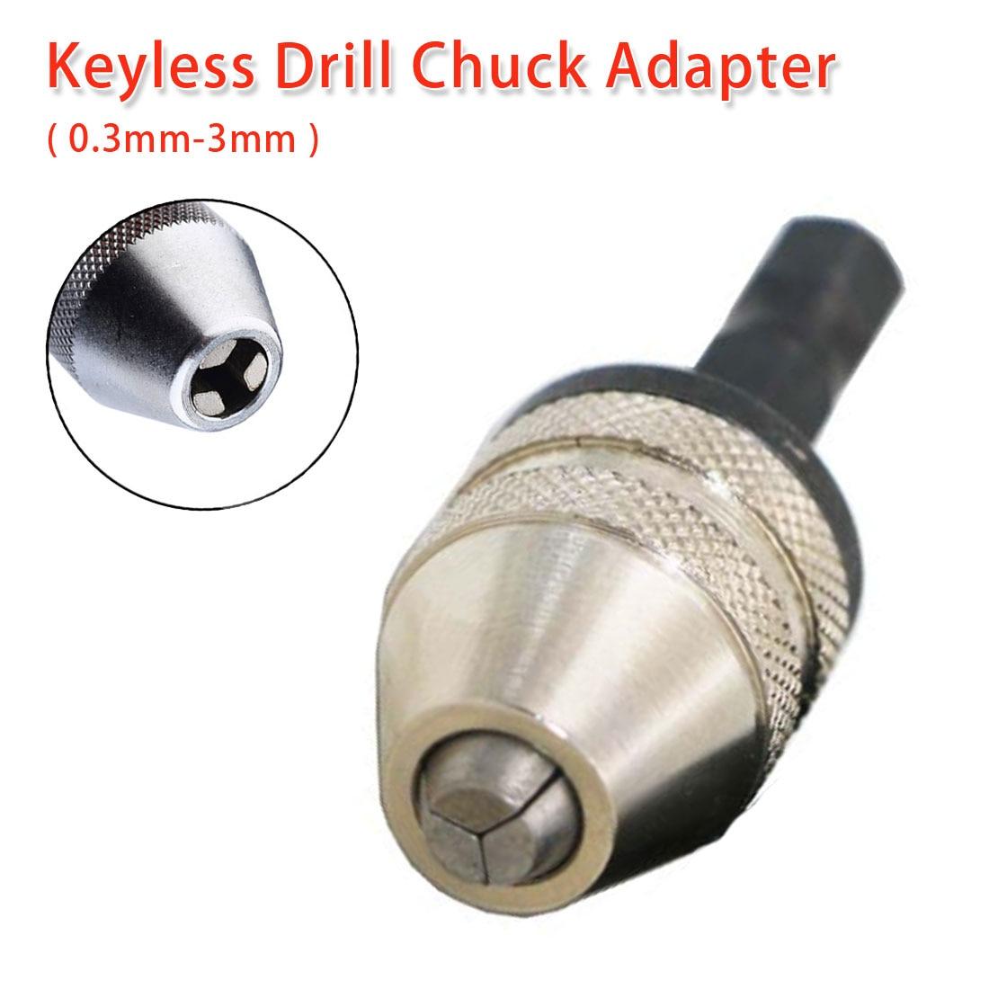 Hex Shank Drill Bit Tool Shaft Chuck 0.3-3mm Keyless Drill Chuck Adapter Screwdriver Impact Driver Adaptor For Electric Grinder