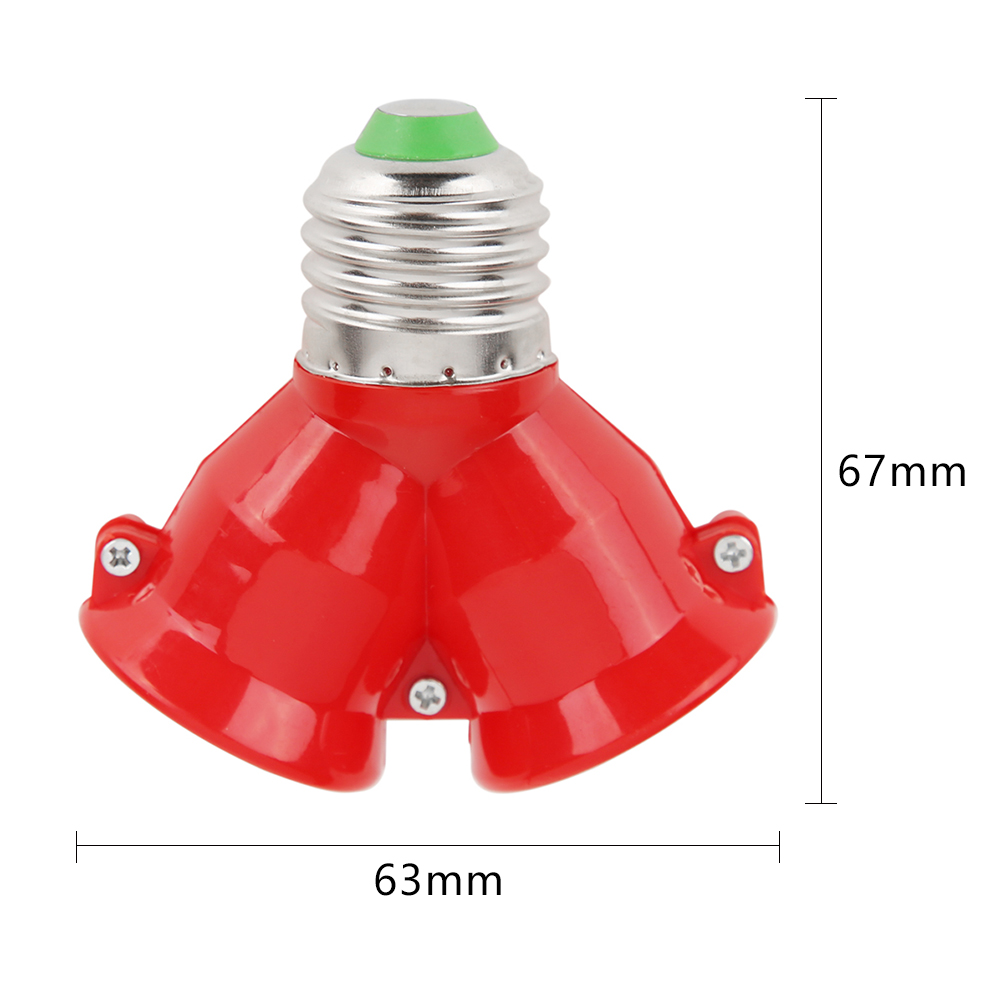 2 в 1 двойной E27 разъем удлинитель основания сплиттер разъем галогенный светильник лампа держатель медный контакт адаптер конвертер - Цвет: Red