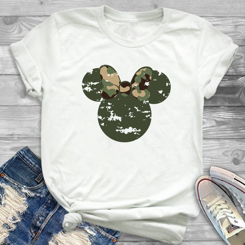 2019 Women Tshirt Bow Fashion Camouflage Printed Graphic Flower T-Shirt Ear Shirt Tumblr Tee  Female T Shirt Tees