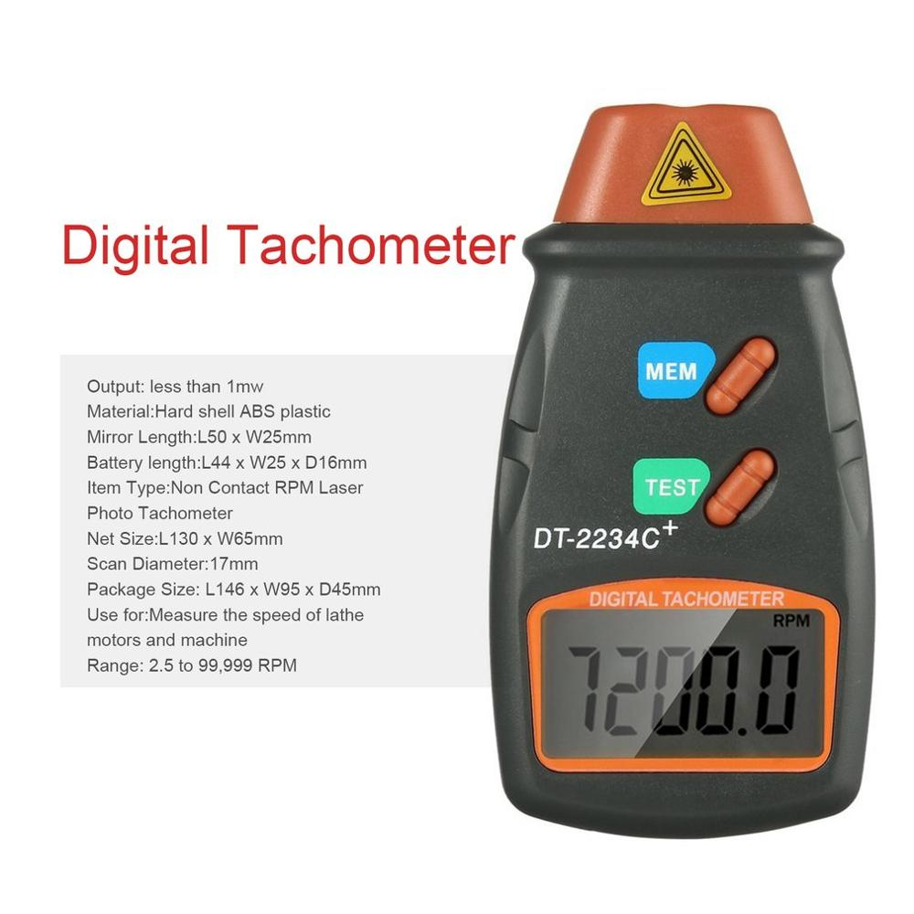 Digital Laser Photo Tachometer Non Contact RPM Tach Digital Laser Tachometer Speedometer Speed Gauge Engine