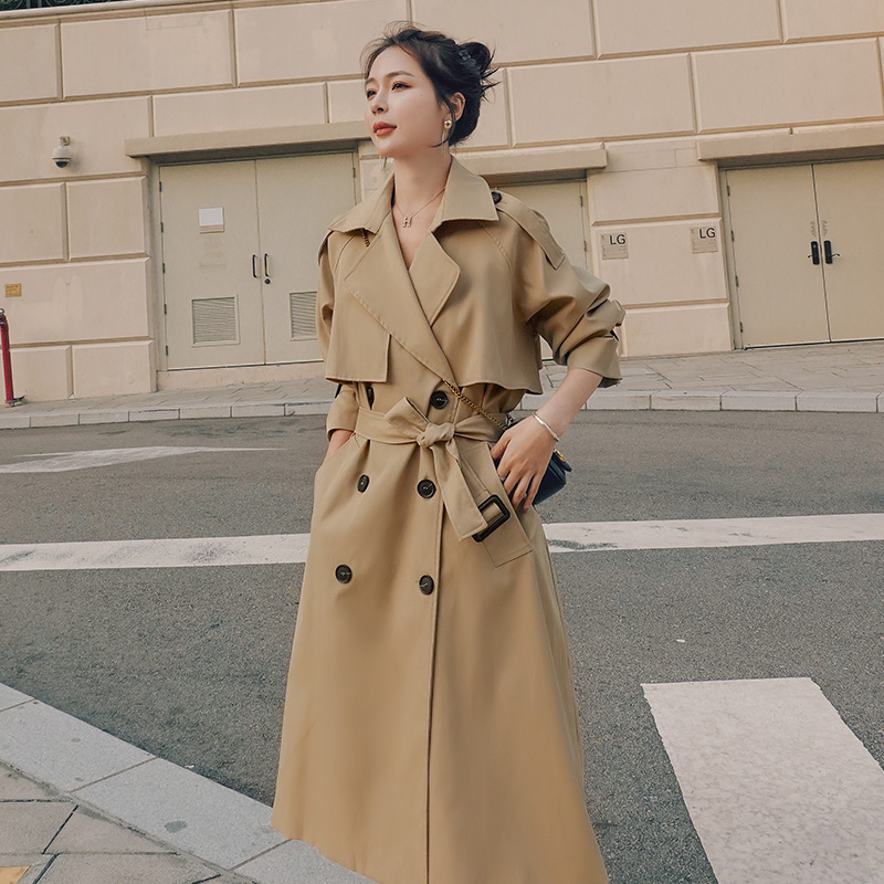 Brand New Spring Autumn Long Women Trench Coat Double Breasted Belted Storm Flaps Khaki Black Loose Coat Lady Outerwear Fashion