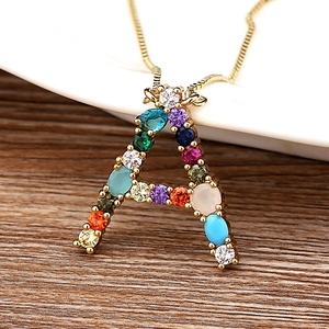 High Quality Wholesale 26 Letters Multi-color CZ Necklace DIY Copper Pendant Women Girl Fine Party Jewelry Best Family Gifts