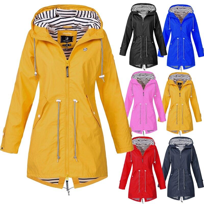 Женская одежда, дождевик, повседневный водонепроницаемый плащ, длинное Походное пальто, пальто для бега, новые модные куртки, ветровка с кап...