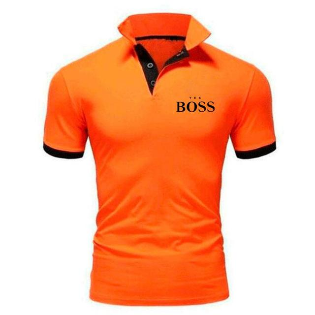 Summer sports and leisure men's fashion printed polo shirt boss boutique casual business short-sleeved cotton lapel jacket 3