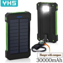 30000 мАч Солнечное зарядное устройство водонепроницаемое солнечное зарядное устройство двойной USB Внешнее зарядное устройство power Bank для Xiaomi huawei iPhone 7 8 samsung