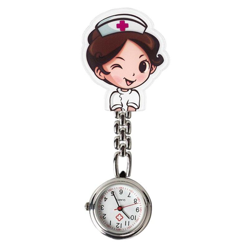 Милые карманные часы для медсестры с мультяшным зажимом и подвеской в виде Белого Ангела, Портативные Простые трендовые часы в стиле Харадз...