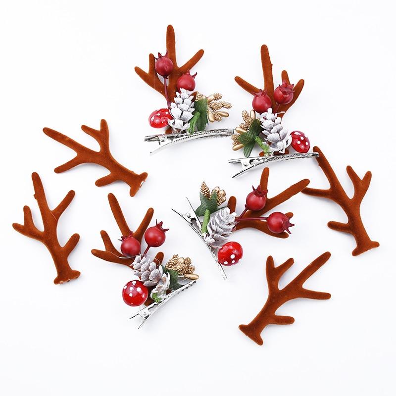 10pcs Artificial Plants Plastic Antler Lovely Headdress Kids Toys Christmas Decorative Flowers Wreaths Wedding Bridal Clearance