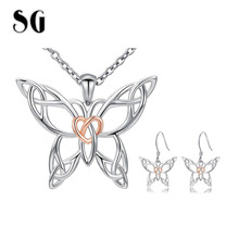 цена на New 100% 925 Sterling Silver Hollow Butterfly Jewelry Set for Women Pendant Necklace & Earrings Sterling Silver Jewelry 2019