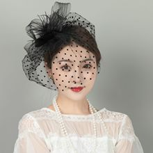 Berets-Caps Hair-Accessories Wedding-Hat Veil Fishnet Retro Women for Topper Mesh Plush-Wave-Point