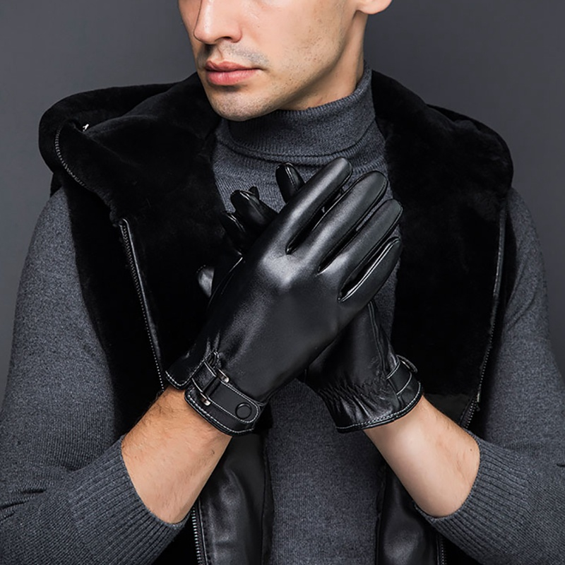 Unisex Winter PU Leather Motorcycle Full Finger Touch Screen Windproof Warm Gloves Velvet Lining Driving Mittens Black/Brown