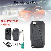 433Mhz 3 Buttons Flip Car Remote Key Fob with PCF7946 Chip Black Fit for Fiat 500 Panda / Punto / Bravo