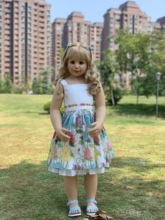 100CM Hard vinyl toddler princess girl doll toy like real 3 year old size child clothing photo model big dress up doll baby gift
