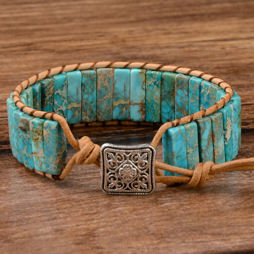 Chanfar Hot Sale Style Multicolor Natural Gem Leather Tibetan Gypsy Beaded Adjustable Bracelet for Men and Women