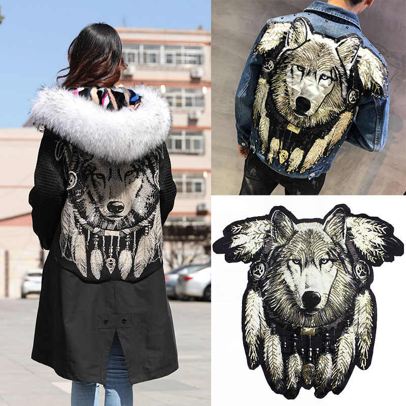 1Pcs Super Grote Grote Maat Borduurwerk Lovertjes Applique Patches Cool Wolf Naaien Op Patches Voor Kleding Diy Patch