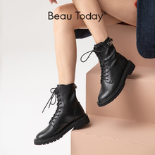 BeauToday Ankle Boots Women Genuine Cow Leather Lace-Up Back Zip Button Decoration Round Toe Winter Ladies Shoes Handmade 04037