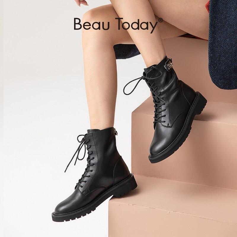 BeauToday/женские ботильоны из натуральной коровьей кожи на шнуровке; Зимняя женская обувь с круглым носком на застежке молнии; Ручная работа; 04037|Полусапожки|   | АлиЭкспресс